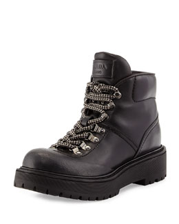 Prada Linea Rossa Leather Hiking Boot, Nero
