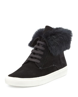 Vince Nyack Rabbit Fur-Lined Sneaker, Black