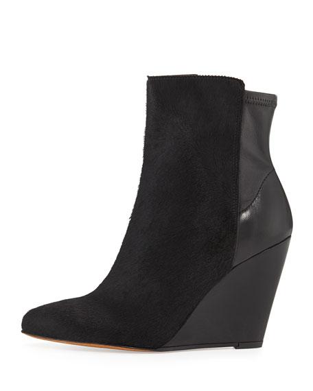 Lanie Calf Hair Wedge Boot, Black
