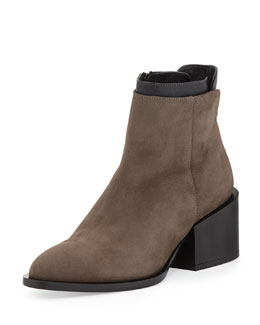 Vince Laura Layered Leather Ankle Boot, Umber/Black