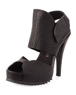 Pedro Garcia Pansy Leather Up-Front Platform Sandal, Black