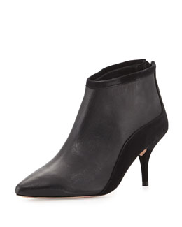Reese Suede Combo Pointy-Toe Bootie, Black