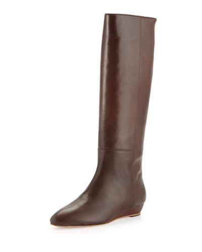 Matilde Demi-Wedge Knee Boot, Chestnut