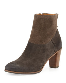 Alberto Fermani Biella Distressed Contrast Suede Ankle Boot, Anthracite/Torto