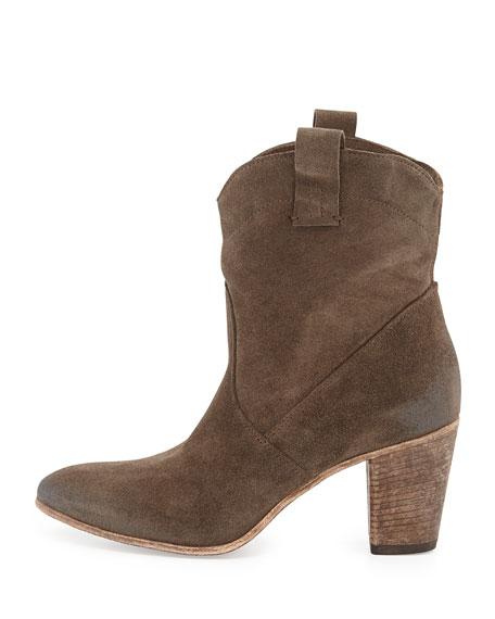 Chiara Slouchy Suede Western Ankle Boot, Tortora