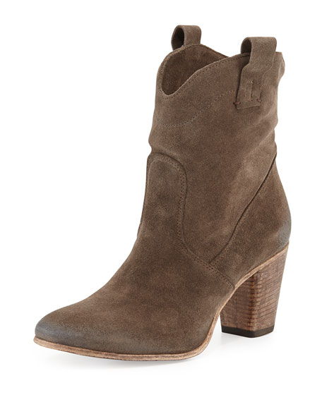 Alberto Fermani Chiara Slouchy Suede Western Ankle Boot,