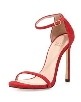 Stuart Weitzman Nudist Ankle-Strap Suede Sandal, Red