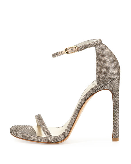 Nudist Ankle-Strap Sandal, Platinum
