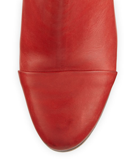 Margot Double-Zip Bootie, Red