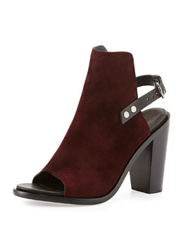 Rag & Bone Wyatt Suede Open-Toe Back-Strap Bootie, Bordeaux