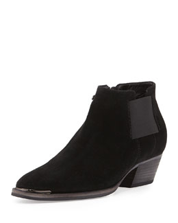 Aquatalia Fetch Suede Ankle Bootie, Black