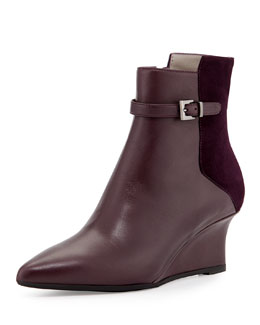 Aquatalia Deniz Leather Wedge Bootie, Plum