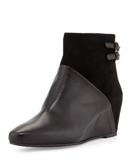Aquatalia Petunia Mixed-Leather Wedge Boot