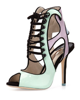 Sophia Webster Mel B Patent Lace-Up Sandal, Pastel