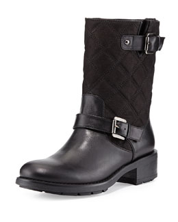 Aquatalia Sherry Quilted Moto Boot, Black