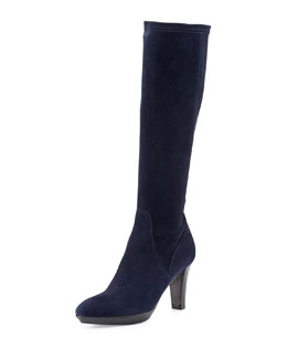 Aquatalia Rhumba Stretch Suede Knee Boot, Navy