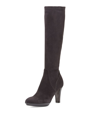 Rhumba Stretch Suede Knee Boot, Charcoal