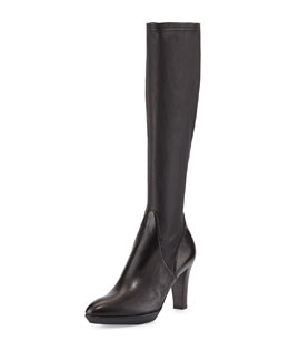 Aquatalia Rhumba Stretch Leather Knee Boot, Black
