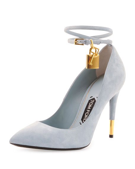 Suede Ankle-Lock Pump, Cloud Blue