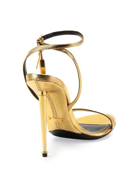 Metallic Ankle-Lock Sandal, Gold