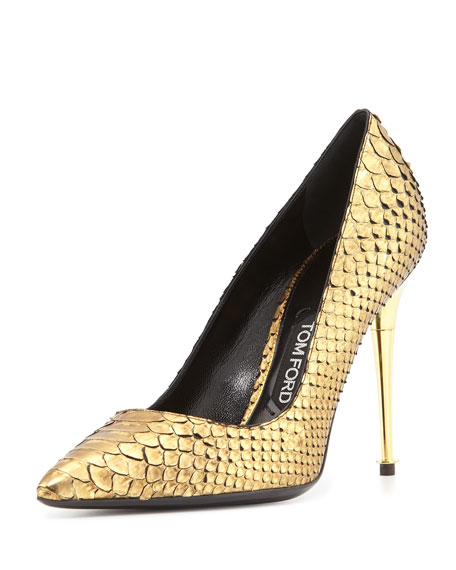 Python Point-Toe Stiletto Pump, Gold