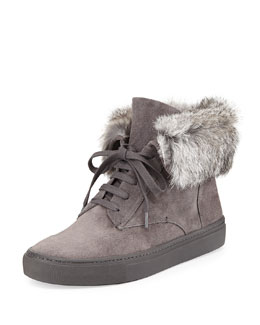 Vince Nyack Rabbit Fur-Cuff Sneaker, Graphite