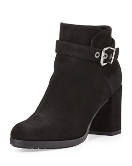 Aquatalia Yanine Buckle-Strap Ankle Boot, Black