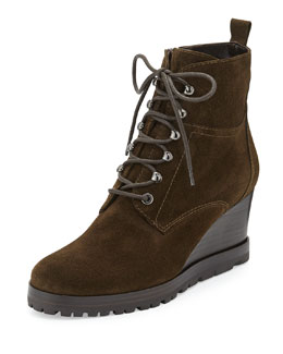 Aquatalia Chance Suede Lace-Up Wedge Boot, Forest (Olive)