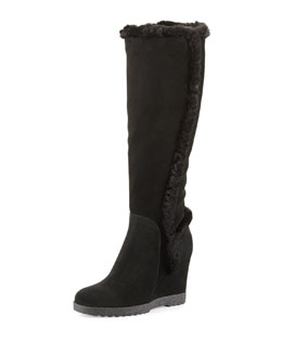 Aquatalia Carmen Faux-Fur Trimmed Knee Boot, Black
