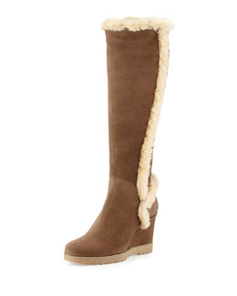 Aquatalia Carmen Faux-Fur Trimmed Knee Boot, Smog