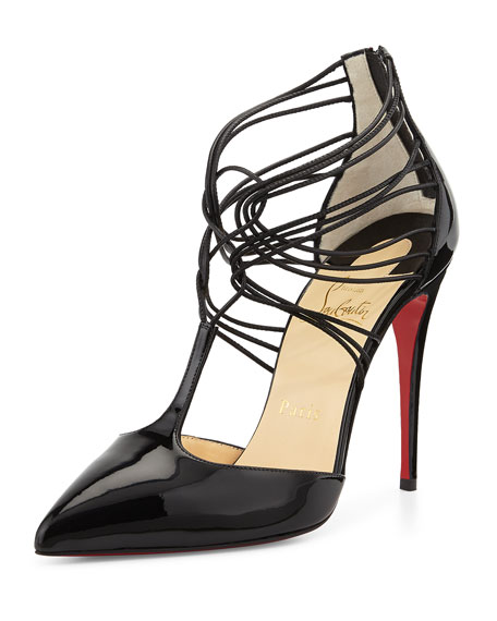 Confusa Patent Leather Red Sole Pump, Black