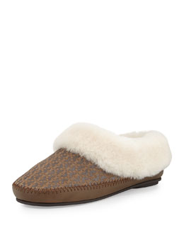 Tory Burch Belding Shearling-Lined Slipper, Pewter/Gray