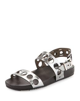 Metallic Banded Hole-Punch Sandal