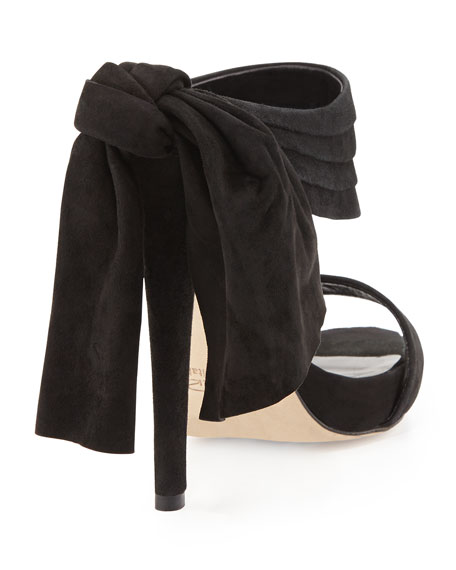 Sandy Suede Bow-Back Mule, Black