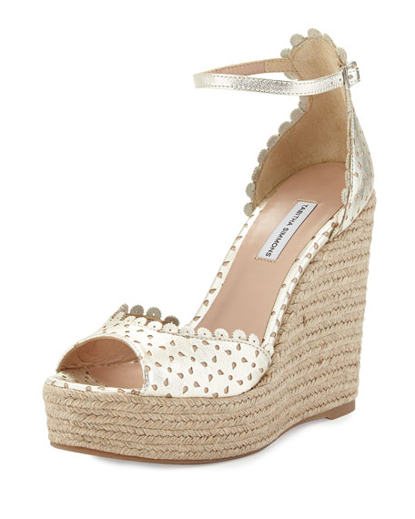Harp Scalloped Leather Wedge, Champagne