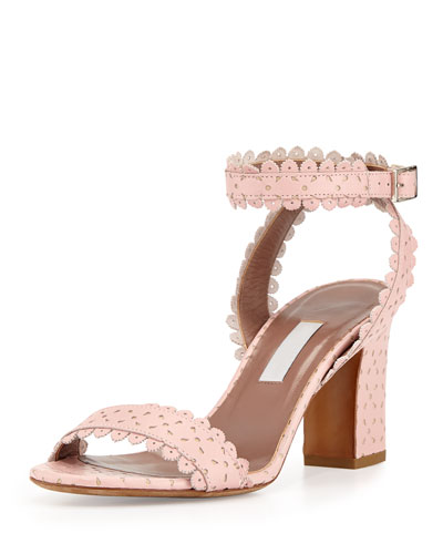 Leticia Scalloped Ankle-Wrap Sandal