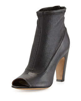 Maison Martin Margiela Stretch-Leather Peep-Toe Bootie, Black