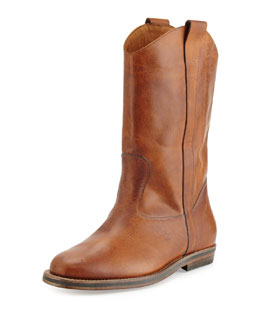 Distressed Leather Western Boot, Brown