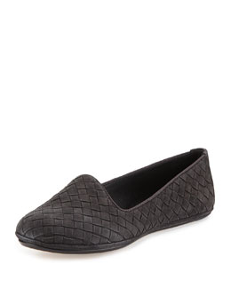 Suede Intrecciato Smoking Slipper, Medium Gray