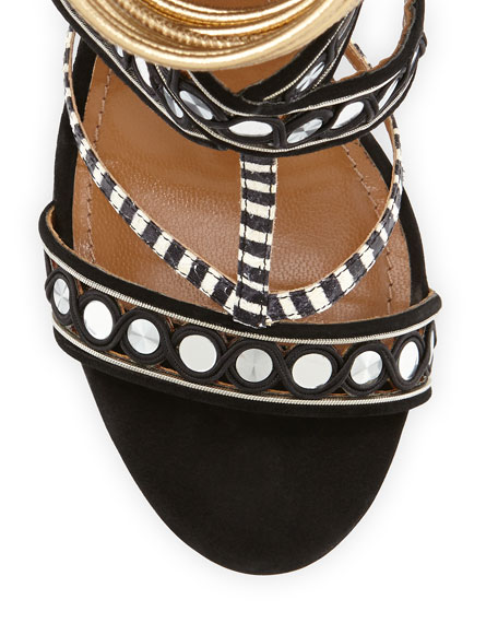 The Queen Suede Mirror-Strap Sandal, Black