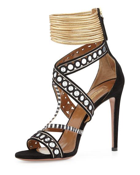 The Queen Suede Mirror-Strap Sandal, Black