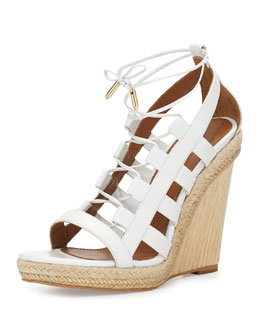 Amazon Lace-Up Espadrille Sandal, White
