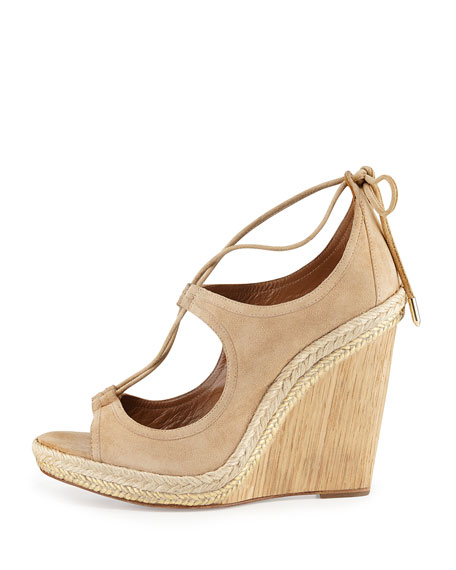 Christy Lace-Up Wedge Sandal, Nude