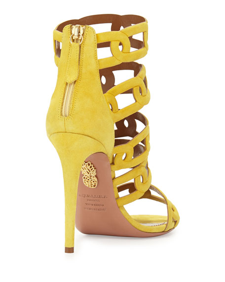 Chain Me Up Open-Toe Suede Bootie, Yellow
