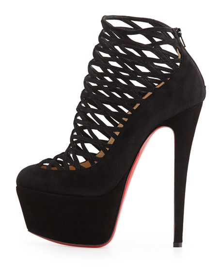 Milleo Suede Lattice Red Sole Pump, Black