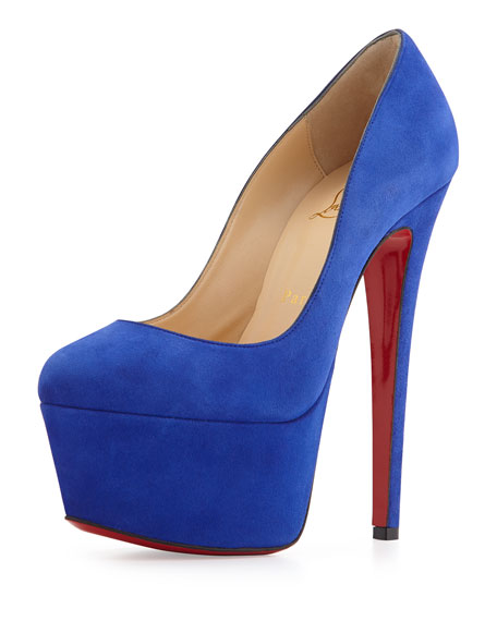 Victoria Suede Red Sole Pump, Pervenche