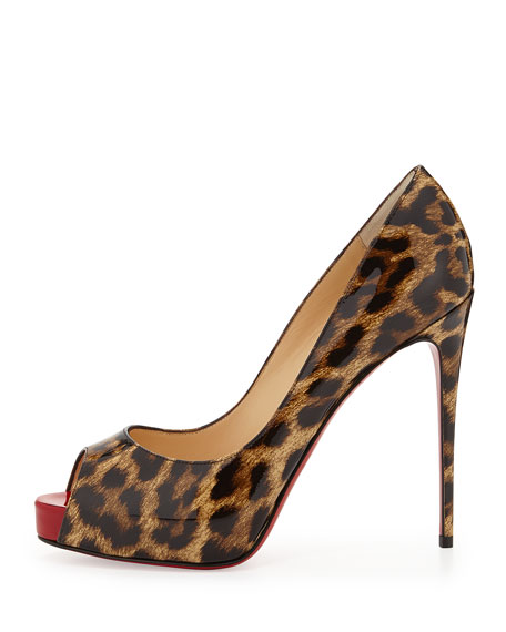 New Very Prive Leopard-Print Patent Red Sole Pump