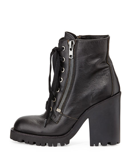 Poker Leather Moto Boot, Black