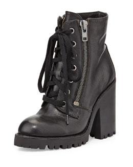 Ash Poker Leather Moto Boot, Black
