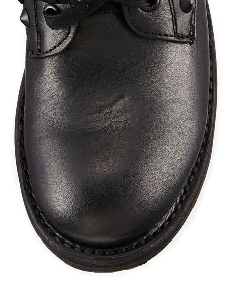 Rebel Studded-Strap Leather Moto Boot, Black/Pavonado